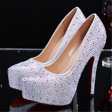 Full Rhinestone Sexy Women High Heels Party Wedding Dress Shoes Women Platform Pumps Zapatos Mujer Valentine