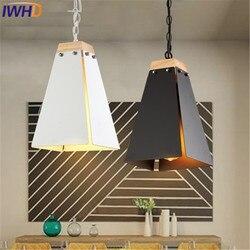 IWHD w stylu lampy edisona Loft lampy wiszące w stylu retro Vintage przemysłowe żelaza wisząca oprawa oświetleniowa czarny biały lampa do restauracji oprawa