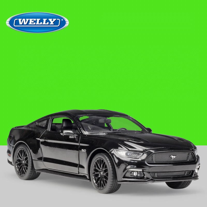 <font><b>1:24</b></font> Welly <font><b>Ford</b></font> <font><b>Mustang</b></font> GT 2015 black/red/blue/matte black Diecast Model Car image