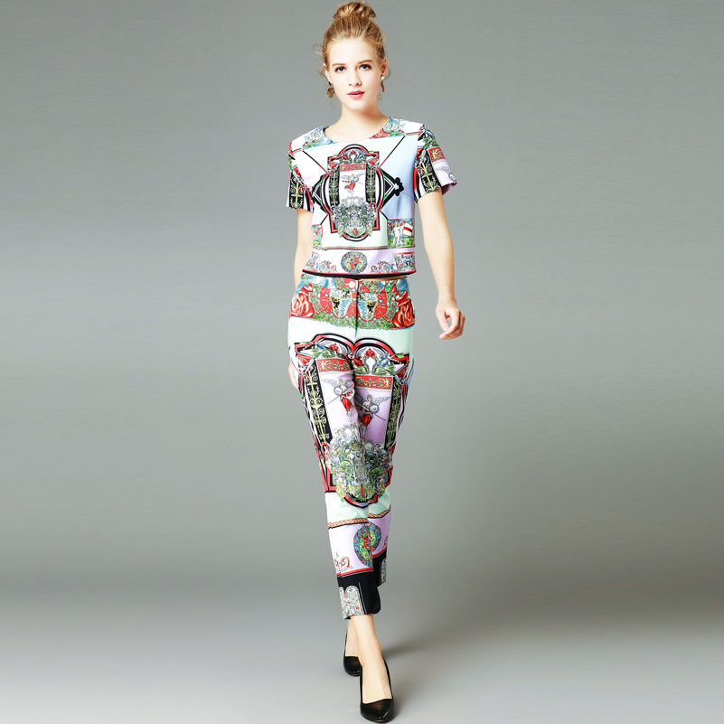 2018 new designer runway Suit sets Women short sleeve Short tops+Pattern printed pants High quality fashion 2 piece set fashion girls new suit tops and pants 2 sets flare sleeve lotus leaf pattern o neck lace bass pants street style girl clothes