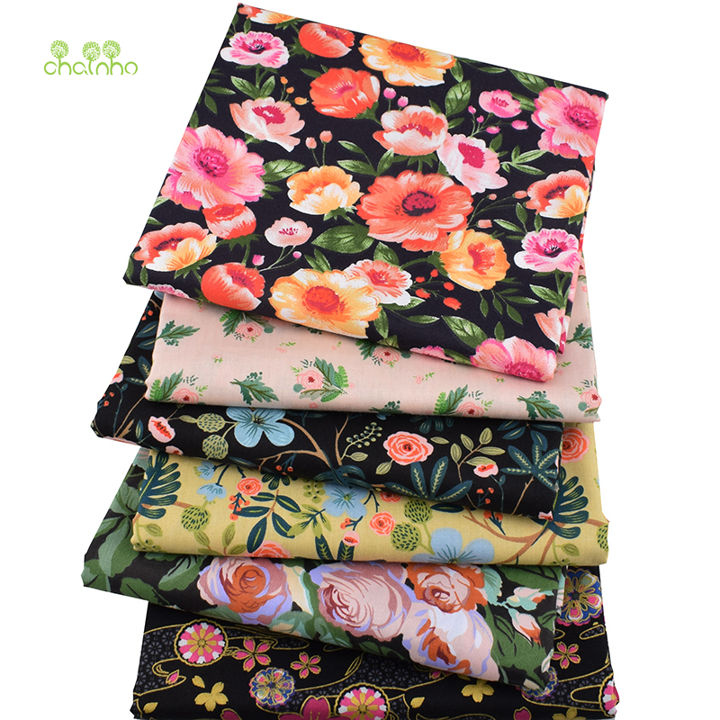 Chainho,6pcs/lot,Midnight Flowers,Twill Cotton Fabric,Patchwork Clothes,DIY Sewing&Quilting Fat Quarters Material For Baby&Kids