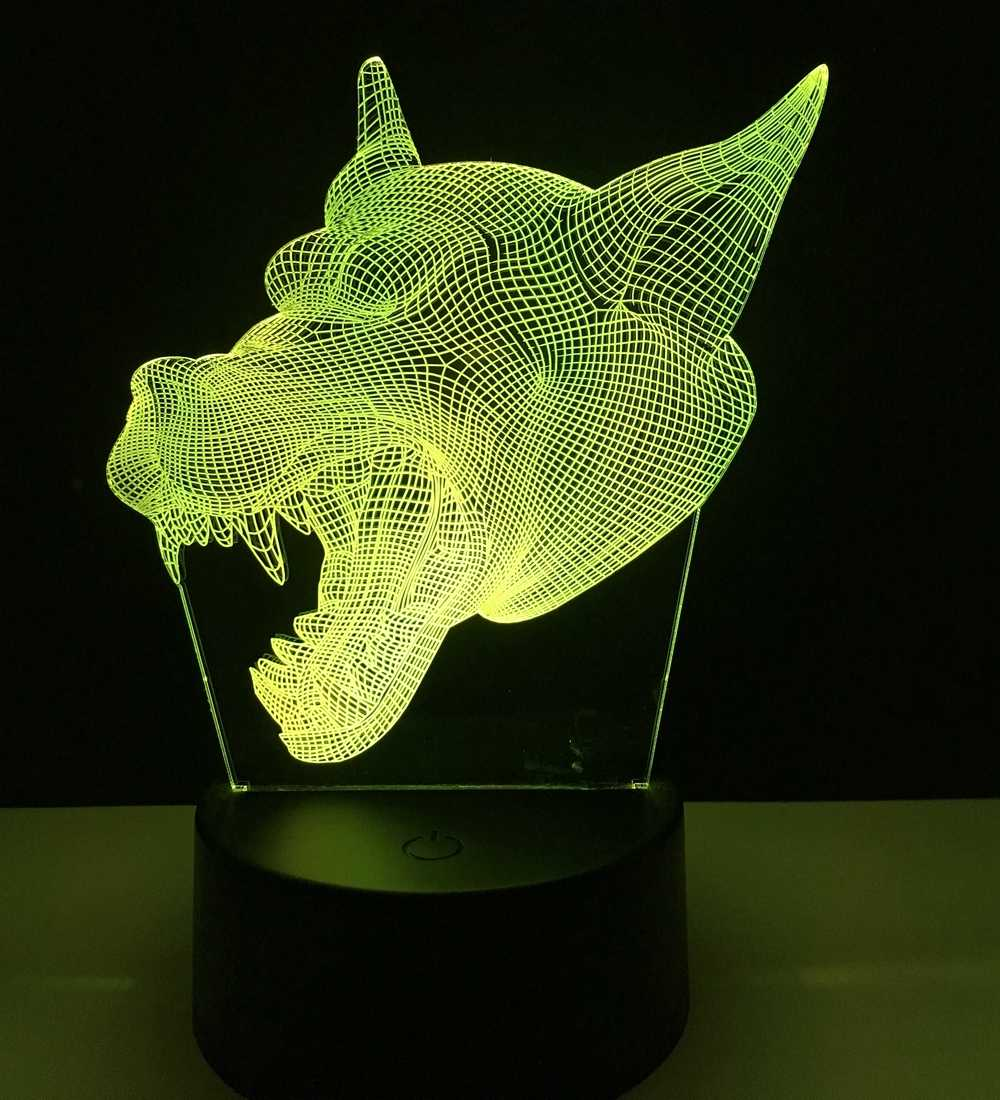Wolf head Lamp 3D Illusion 7 Color Led Night Lamps LED Night Light Micro USB Table Lamp Desk lights Baby Sleeping Led Night Lig