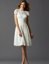knee Length Wedding Dresses Lace Short Sleeve Modern Custom Made Vintage Top Selling Fashion vestidos de