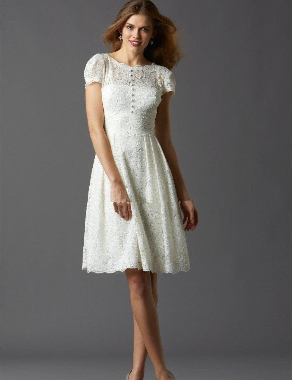 knee Length font b Wedding b font font b Dresses b font Lace Short Sleeve Modern