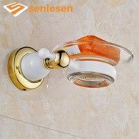 무료 배송 화이트 그림 & 골드 벽 마운트 비누 접시/세라믹 비누 접시
