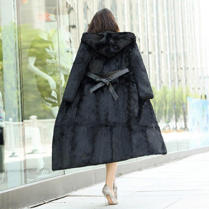 La Taille Naturel Manteaux Hiver Fourrure Lapin longue 130 Black À Cm 2018 Femmes Véritable Automne 6xl Vestes X Capuche M Plus Nouveau De w1qXfI7wx8