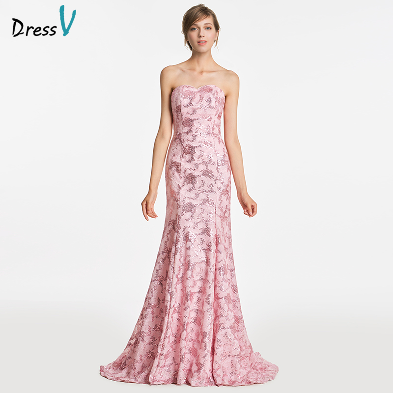 Dressv pink sweetheart trumpet bridesmaid dress zipper-up sleeveles ...