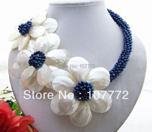 Amazing Shell Flower Crystal Necklace free shippment