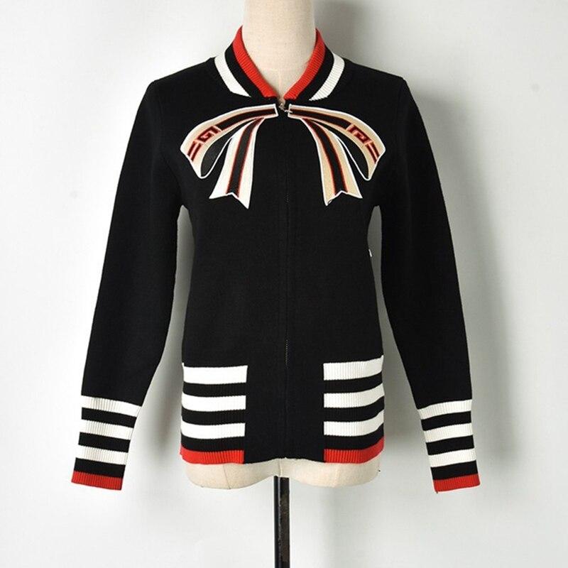 Designer Zipper Streetwear Bomber Jacket 2018 New Winter Bow Patchwork Stripes Knitted Sweater Women Cardigan Cute Jumper