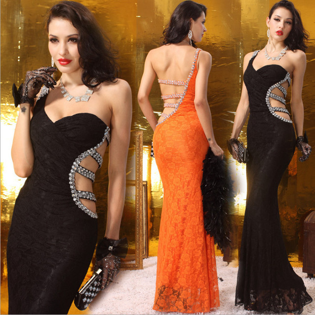 One shoulder Sleeveless Sexy big ass evening dress with open back long c9589cb89f9e