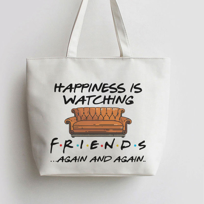 Happiness is watching tv shows friends Canvas Shopping bag Cartoon Tote bags Reusable Shopper Bag ,Grocery Bag AN088 tote bag