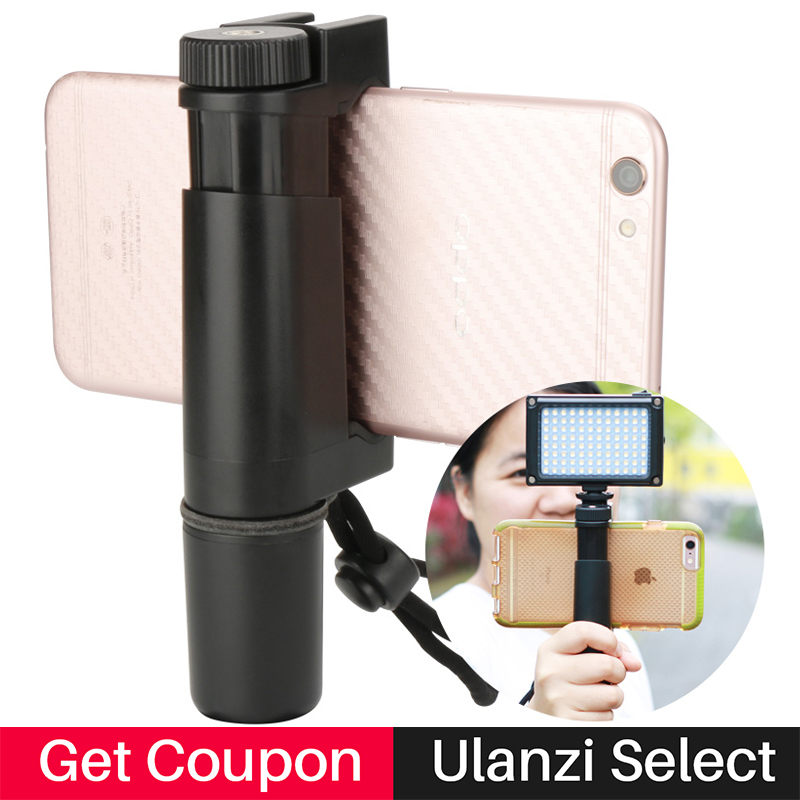 Ulanzi Handheld Phone Tripod Mount Holder Video Grip with Hot Shoe 1/4 Screw, Tripod Holder Clamp Bracket for iPhone цена