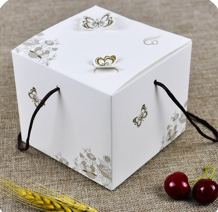 2-10 Alice, DIY Wedding white cake boxes,300gsm single copper card Party Candy Box,Mini Single Cake Box Packaging,80pcs/lot box