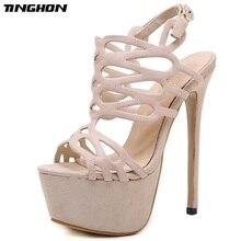 TINGHON Summer Sandals Women Platform Flock Shoes Style Sexy 16 CM High Heels Open Toe Buckle Nightclub