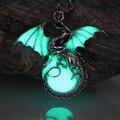 Игра трона дракона Панк Световой Дракон Подвески и Ожерелья GLOW in the DARK dragon амулет Цепь Свитера Подарок древний