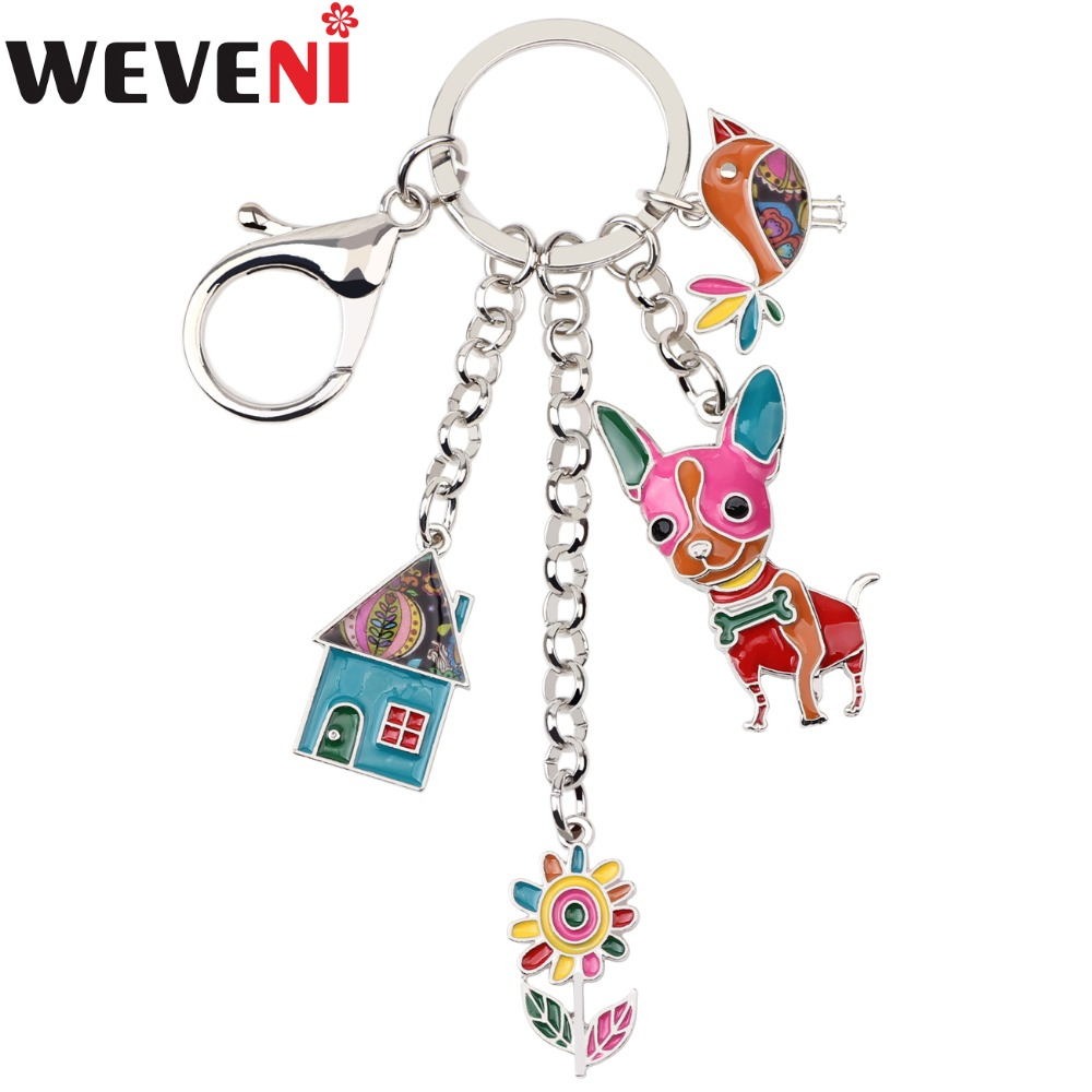 WEVENI Enamel Metal House Flower Chihuahua Dog Chicken Hangs Key Chain Key Ring For Women Man Key Holder Jewelry Accessories
