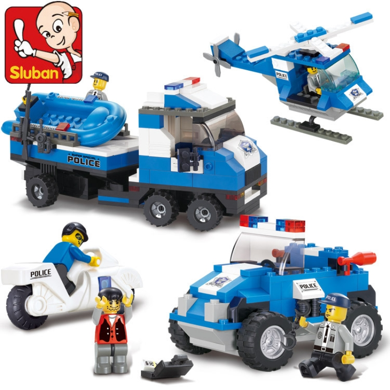 Sluban 0190 City Police Special Police Jeep Motorcycle Helicopter Boat Building Blocks Brick Educational Toys Children's Gifts