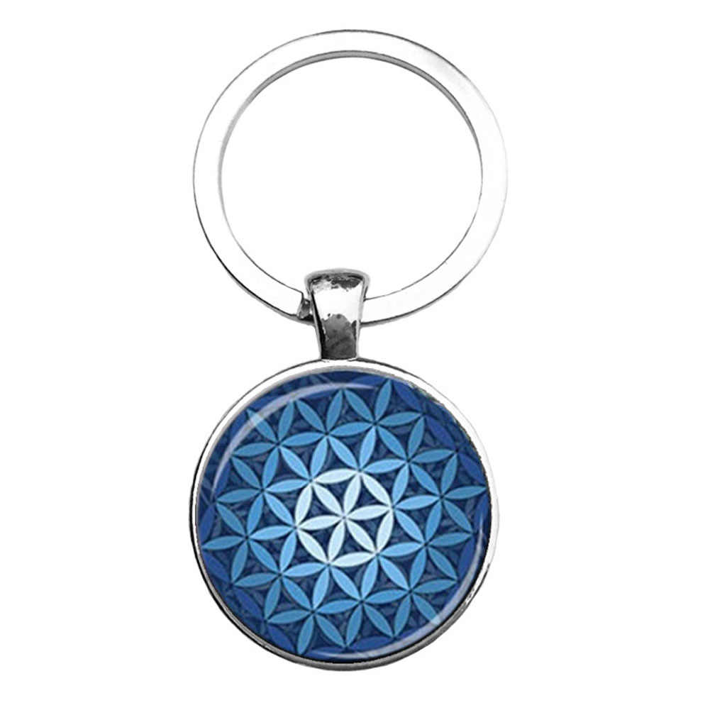 Buddhist sacred geometry yoga mandala keychain flower of life charms key chain