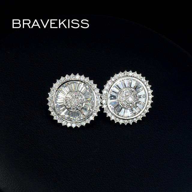 Bravekiss Flat Round Cubic Zirconia Earrings Studs Ear Piercing Stud For Women Jewelry Mujer Brincos