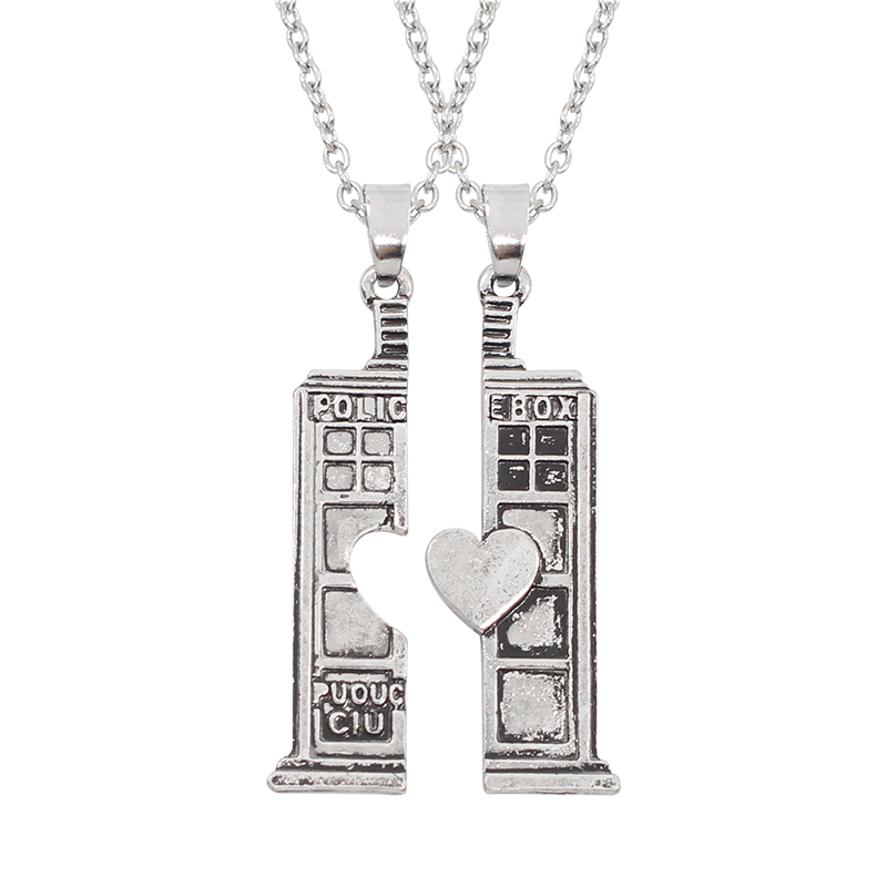 New Two Parts Spliced Lovers Jewelry With Peach Heart Fashion Personality Doctor Who With Police Box Undertale Pendant Necklace