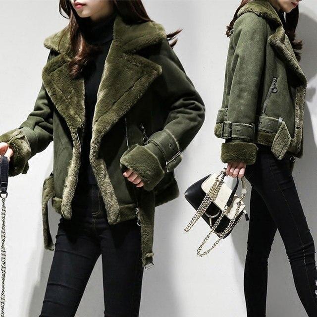 2018 invierno mujeres abrigos imitación gamuza chaquetas de cuero grueso  cálido piel de oveja Parka corta 98dc1e52d3df