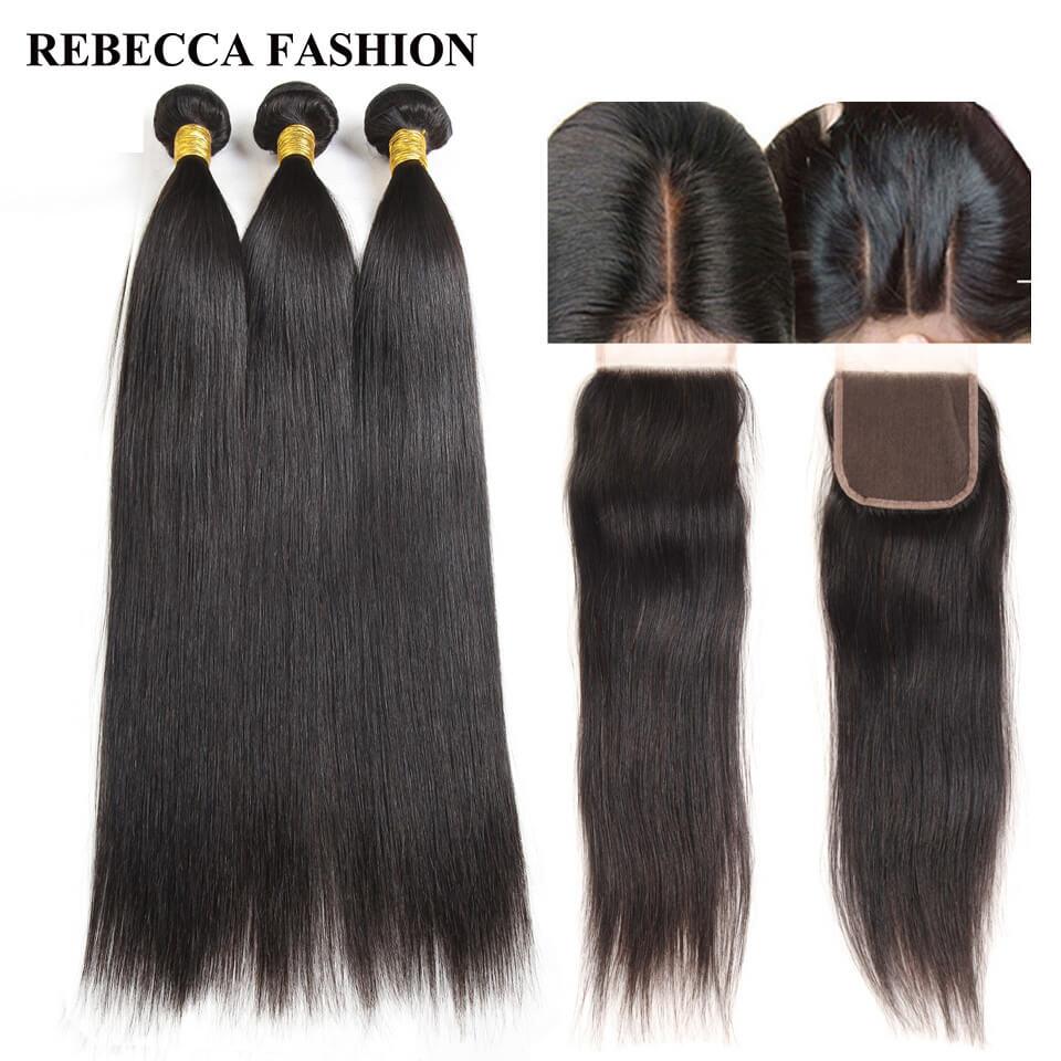 Rebecca Malaysian Straight Human Hair Bundles with Closure Virgin Hair Weave with Closure Salon Bundle Pack Hair Extensions