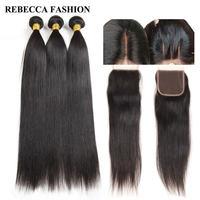 Rebecca Malaysian Straight Human Hair Bundles With Closure Virgin Hair Weave 3 Bundles With Closure Hair Extensions