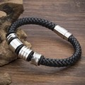 New Style Brand Genuine Leather Bracelets Men Fashion Knight Bracelets Stainless Steel Charm Bracelets Pulseras .