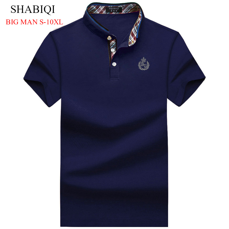 SHABIQI PLUS SIZE Men's Regular Slim Lapel Embroidered   Polo   Shirts cotton men casual tops BIG MAN poloshirts6X 7XL 8XL 9XL 10XL