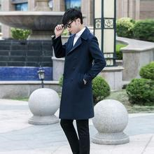 Men s clothing plus size long design slim casual wool coat mens double breasted woolen coats