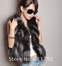 Free Shipping New Style Retail/wholesale/OEM Genuine Silver Fox Fur Vest/Waistcoat Natural Fox Fur Gilet