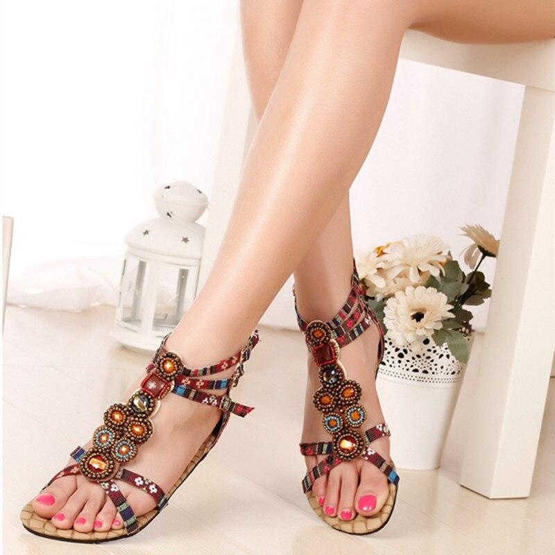 Rebordear Diseñador yellow Gladiador Estrecha Banda Damas Verano 2016 Mujeres Rhinestone De Bohemio Red Impresión Sandalias Estilo Zapatos Y5Aggq