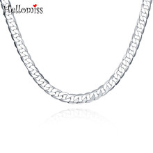 цена на 8mm Figaro Chain Necklace 20 Inch Chain Necklaces for Men Silver 925 Jewelry Wide Collar Statement Chain Choker Man Accessories