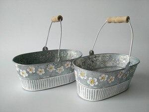 Image 3 - Metal Planter Iron Flower pot Oval Sharp tin box Iron pots Hanging Planter vintage Style 4pcs/Lot Free Shipping