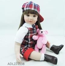 22 inch 55 cm Silicone baby reborn dolls, lifelike doll reborn babies toys Stylish lattice suit beautiful girl