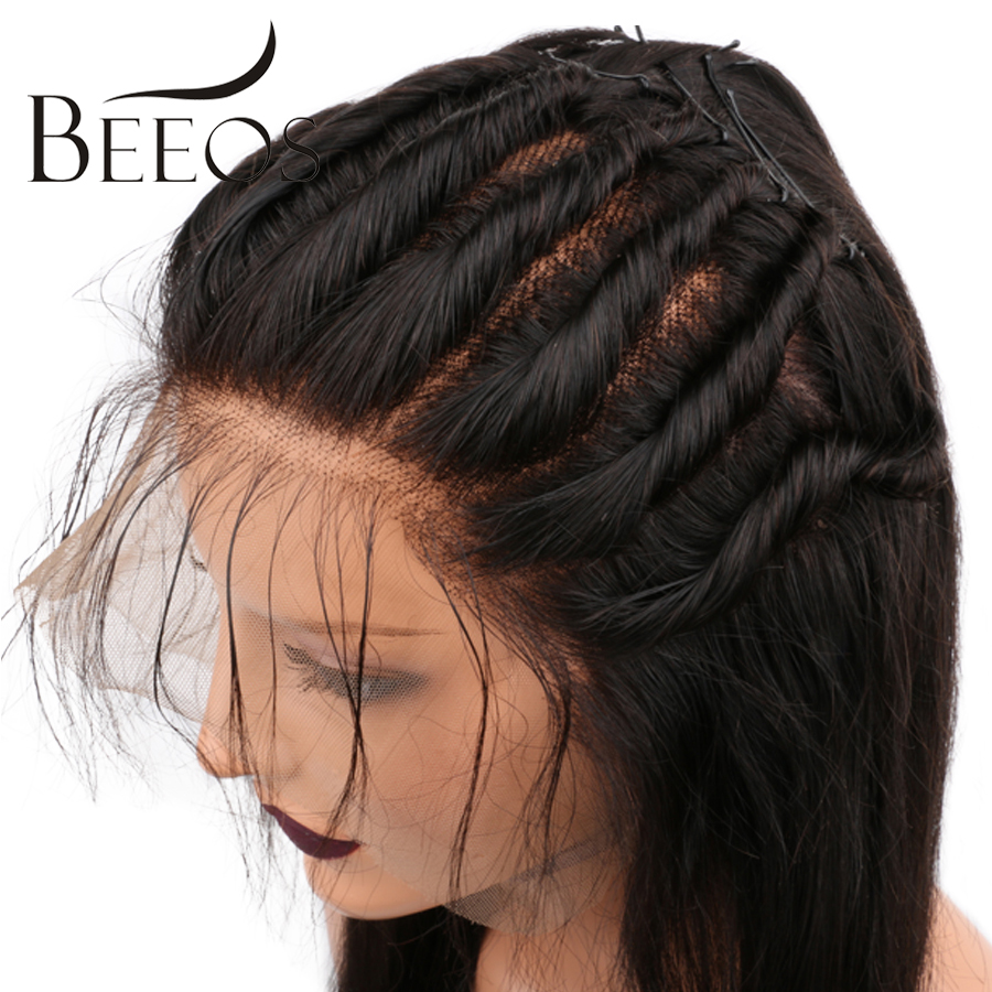 BEEOS 150 Density Straight Pre Plucked Full Lace Wigs Human Hair With Baby Hair Natural BLack Color Remy Malaysian Human Wigs