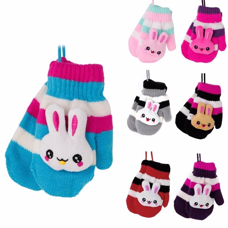 ヾ(^▽^)ノ1 par niños bebé Guantes colgante conejo raya caliente ...