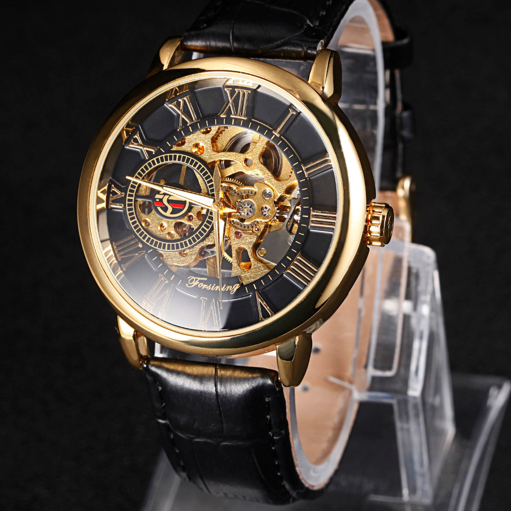 Men's Luxury Brand Mechanical Watch Skeleton Rome Dial Hand Wind Wristwatches NEW Design Hollow Engraving Leather Band Strap luxury brand sport clock roman numerals dial men mechanical hand wind watch skeleton vintage watches leather strap 2017 new