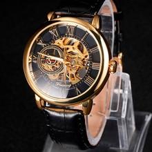 2016 NUEVO Diseño de Grabado Hueco Caja de Oro de Cuero Negro Esqueleto de relojes Mecánicos Relojes de Los Hombres top Luxury Brand Heren Horloge