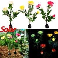 Solar Powered Energy Saving 3 LED Rose Flower Stake Light Landscape Decoration