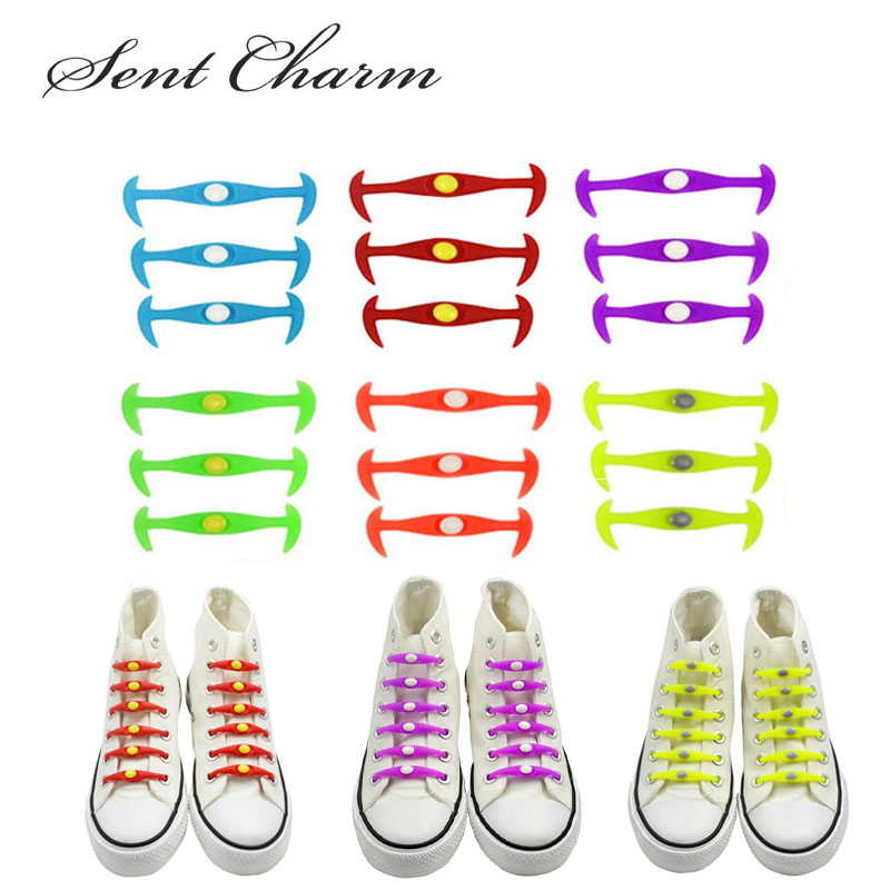 12pcs/Pack Colorful Fashionable No Tie Shoelaces Flexible Stretch High Quality Shoestring For Sneakers Canvas Shoes