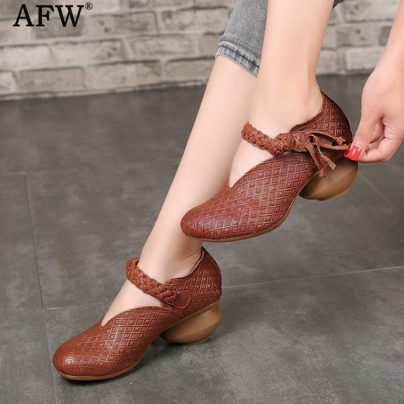 AFW Embroidery Women Leather Pumps Ankle Strap 6 CM High Heels Pumps Spring Shoes 2018 Brand Handmade Genuine Leather Women Shoe