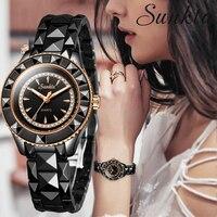 SUNKTA All black Ceramic Women Watches Ladies Fashion Simple Quartz Watch Women Top Brand Luxury Female Clock Relogio Feminino