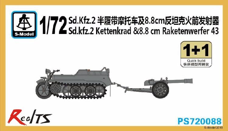 RealTS S-model PS720088 1/72 German Sd.Kfz.2 Kettenkrad & Raketenwerfer 43 (2 Kits In 1 Box)