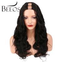 BEEOS 150% 1x4 U Parçası Peruk Insan Saçı Orta Kısmı Siyah Kadınlar için Doğal Siyah Brezilyalı Remy Saç Peruk Vücut dalga