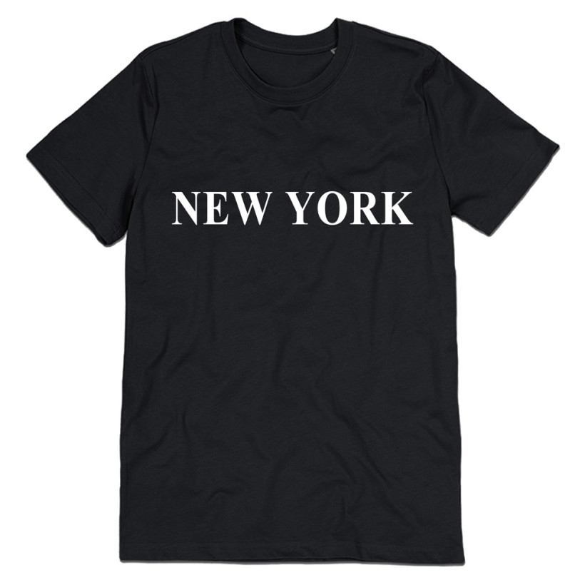 Women T shirt NEW YORK Letters Print Casual Cotton Hipster Shirt For Lady Funny Top Tee White Black B-172