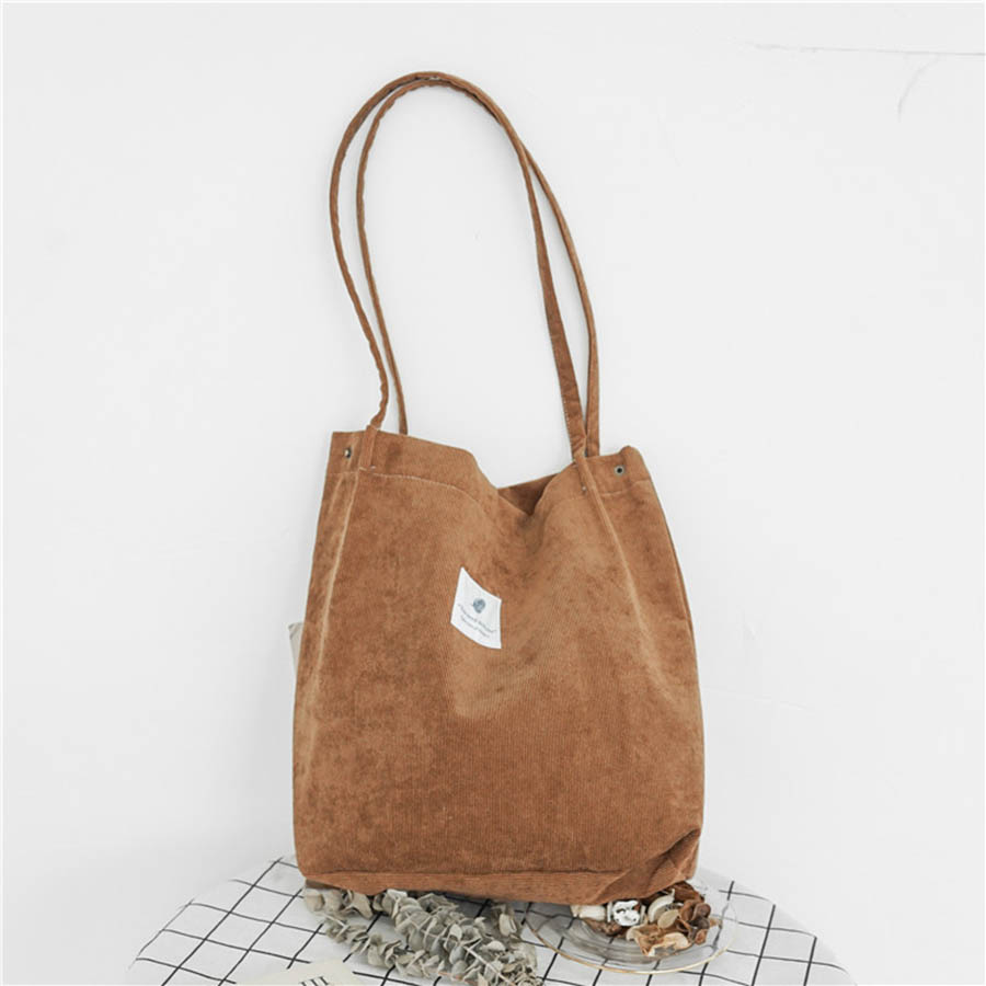 Mara's Dream High Capacity Women Corduroy Tote Ladies Casual Solid Color Shoulder Bag Foldable Reusable Women Shopping Beach Bag 50