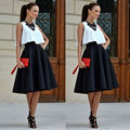 New Fashion Vintage Women Stretch High Waist Short Plain Skater Flared Pleated Mini Dress