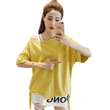 2017 New Summer casual beach T shirts for women kawaii Party sexy Holes Tops Tees Halter Patchwork plus size female T-shirt