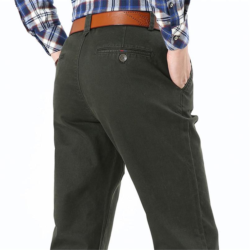 Nianjeep الرجال السراويل عارضة جيوب القطن - ملابس رجالية